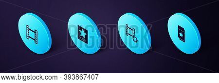 Set Isometric Cinema Ticket, Play Video, Hollywood Walk Of Fame Star And Icon. Vector