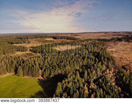 Aerial Drone Point Of View Of High Fens Hohes Venn Hautes Fagnes Hoge Venen Nature Reserve In Belgiu