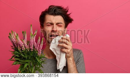 Dejected Man Suffers From Despair, Has Asthma And Allergy To Plants, Tired Of Sneezing, Holds Tissue