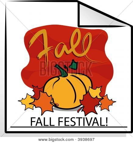 Vector Fall Graphic with Pumpkin and Bright Autumn Colors