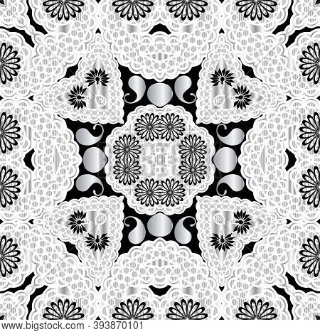 Floral Lacy Paisley Vector Seamless Pattern. Ornamental Ethnic Tribal Style Lace Background. Texture