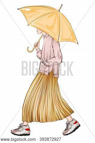 Hand Drawn Fashion Sketch Girl With Umbrella. A Long Sweater And A Pleated Gold Skirt. Fashion Art W