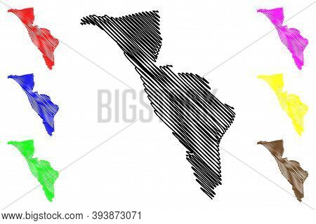 Libreville City (gabonese Republic, Gabon, Estuaire Province) Map Vector Illustration, Scribble Sket