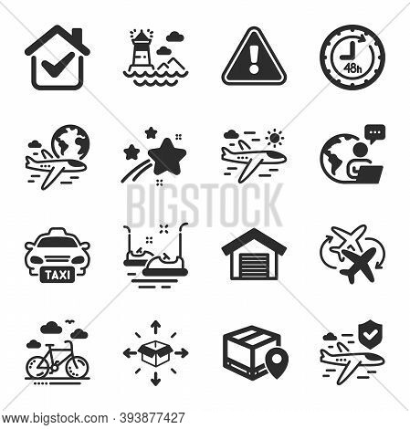 Set Of Transportation Icons, Such As 48 Hours, Parcel Delivery, Airplane Travel Symbols. Taxi, Inter