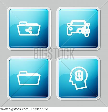 Set Line Share Folder, Car Sharing, Folder And Head With Low Battery Icon. Vector