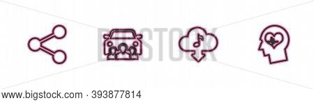 Set Line Share, Cloud Download Music, Car Sharing And Head With Heartbeat Icon. Vector