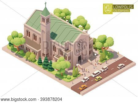 Vector Isometric Church Building. Old Church Or Cathedral, Married Couple After Wedding Ceremony, Wh