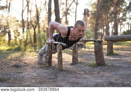 Handsome Caucasian Men Push Up Outdoor Workout Cross Training Morning Pumping Triceps Arm Exercising