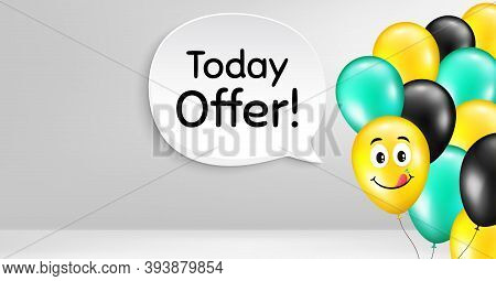 Today Offer Symbol. Smile Balloon Vector Background. Special Sale Price Sign. Advertising Discounts