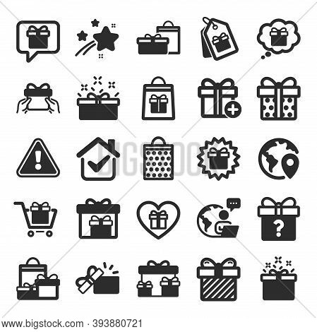 Gift Icons. Present Box, Offer And Sale. Shopping Cart, Tag And Chat. Speech Bubble, Give A Gift Box