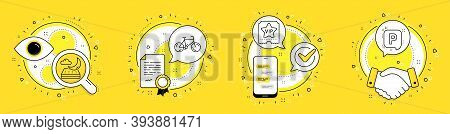 Bicycle, Night Mattress And Vip Ticket Line Icons Set. Licence, Cell Phone And Deal Vector Icons. Pa