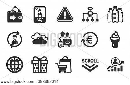 Gift Box, Wallet And Crane Claw Machine Icons Simple Set. Globe, Communication And Human Resources S