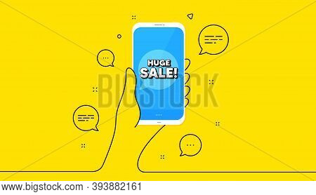 Huge Sale. Hand Hold Phone. Yellow Banner With Continuous Line. Special Offer Price Sign. Advertisin