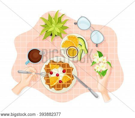 Hands Eating Waffles Served On Plate Rested On Checkered Table Cloth Vector Illustration