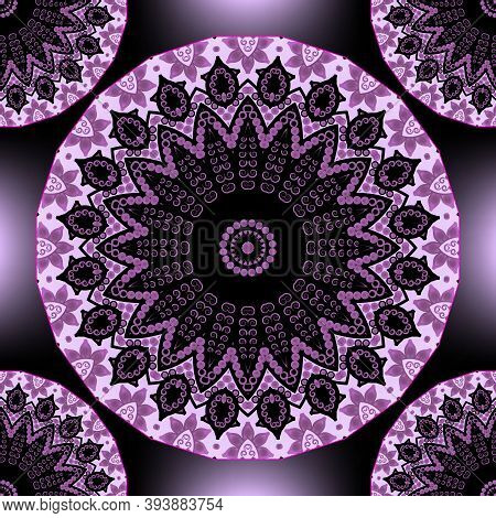 Floral Ethnic Round Mandalas Seamless Pattern. Vector Purple Glowing Background. Repeat Geometric Ba