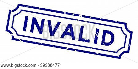 Grunge Blue Invalid Word Rubber Business Seal Stamp On White Background
