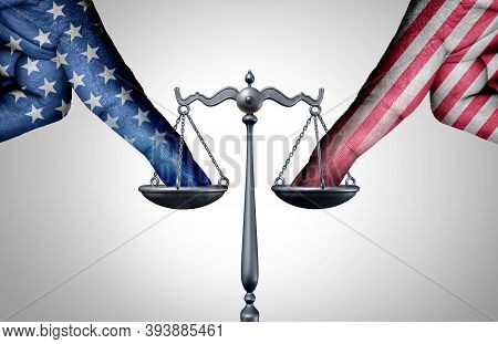 United States Legal Battle And American Law As A Tip The Scales Of Justice Concept With A The Finger