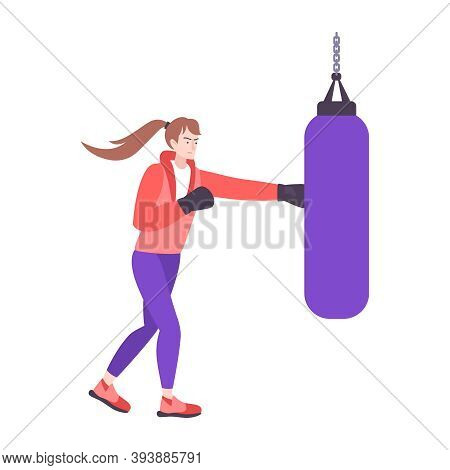 Self Defense Flat Composition With Isolated Doodle Character Of Boxing Girl Punching Bag Vector Illu