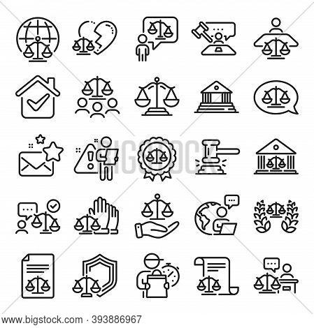 Court Line Icons. Scales Of Justice, Lawyer And Judge. Hammer, Law And Petition Document Set Icons.
