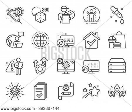 Science Icons Set. Included Icon As Handout, Organic Tested, Chemistry Pipette Signs. Seo Gear, Repo