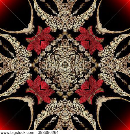 Baroque Embroidery Ornate Seamless Pattern. Floral Vector Glowing Tapestry Background. Wallpaper Des