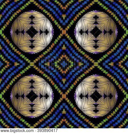 Geometric Textured Embroidery Seamless Pattern, Striped Abstract Tapestry Background. Colorful Repea