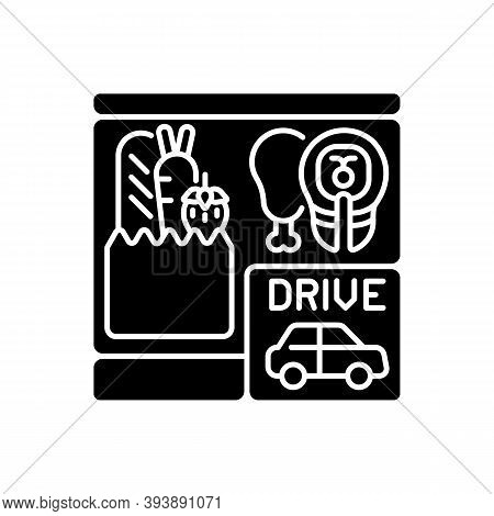 Drive Through Grocery Shopping Black Glyph Icon. Convenience Store. Supermarket With Transport Lane.