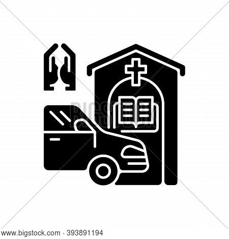 Drive Through Prayer Booth Black Glyph Icon. Car Near Small Church. Chapel Services For Driver. Reli