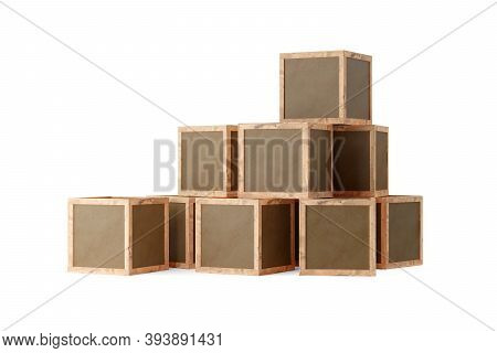 Stack Of Brown Wooden Transport Or Shipping Boxes Or Crates Over White Background, 3d Illustration