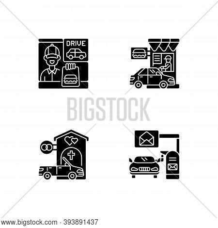 Car In Drive Thru Lane Black Glyph Icons Set On White Space. Fast Food Restaurant Window. Chapel For