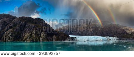 Beautiful Panoramic View Of Margerie Glacier In The American Mountain Landscape On The Ocean Coast.