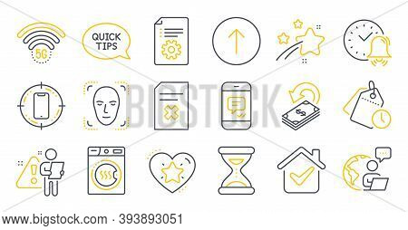 Set Of Technology Icons, Such As 5g Wifi, Time, Ranking Star Symbols. Time Management, Message, Tech