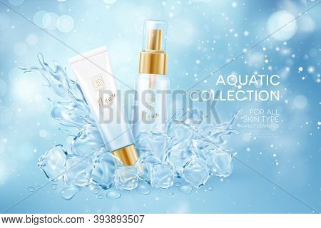 Bottles Of Cosmetics In Icy Transparent Clear Cubes In Water Crown Splash Isolated On Blue Transpare