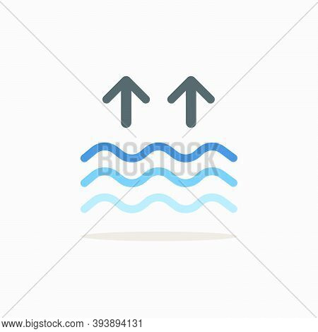 High Tides. Waves On The Sea. Color Icon With Shadow. Weather Glyph Vector Illustration