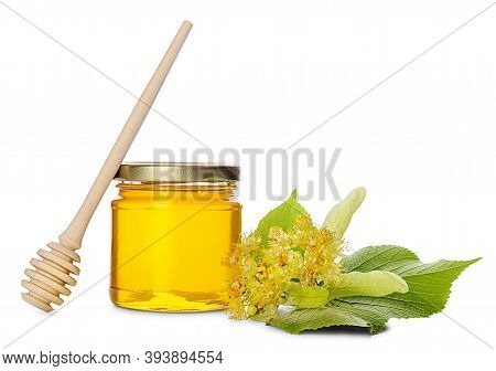 Jar Of Linden Honey, Honey Dipper And Lime Flowers With Leaves Isolated On White Background.