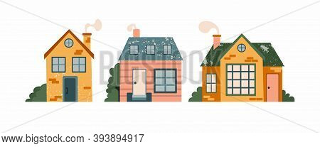 Cartoon Cottage Set. Hand Drawn Home Facade With Texture Frond View, Cute Bright Townhouse And Famil