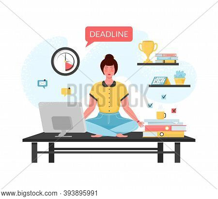 Girl Meditating At Workplace. Businesswoman Doing Yoga To Calm Down Stressful Emotion From Hard Work