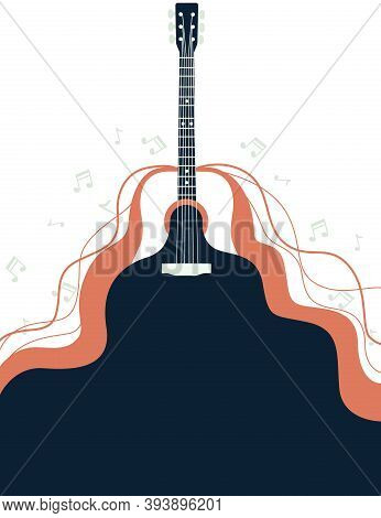 Acoustic Guitar Classical Vintage Music Instrument And Flowing Sound With Musical Notes Flat Vector