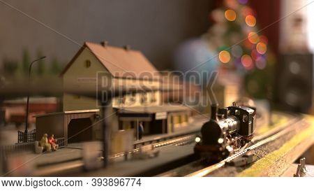 Toy Train In A Town. Lokomotive Train In A Countryside.
