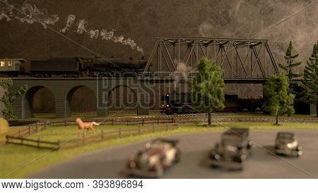 Retro Toy Railway Station. Lokomotive On The Bridge.