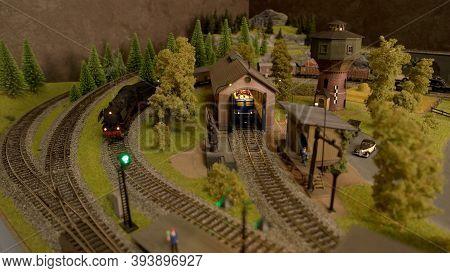Retro Toy Railways. Two Lokomotivew Top View.