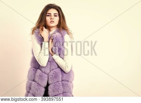 Girl Curly Hairstyle Enjoy Soft Warm Violet Furry Coat. Fashion Trend Concept. Violet Fur Vest Fashi