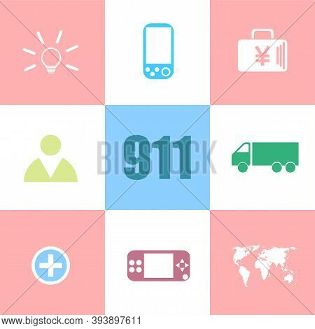 Text 911. Securitry Concept . Can Be Used For Workflow Layout, Diagram, Business Step Options, Banne
