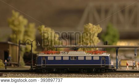 Miniature Railway Carriage. Plastic Toy Railway Model With Train Side View.