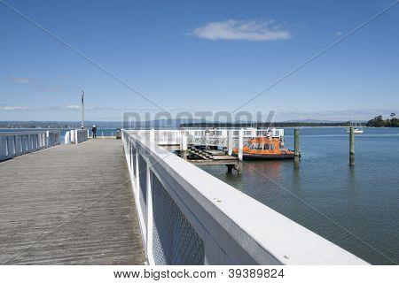 Wharf stretching into bay.