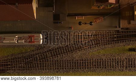 Top View Train On The Station. Miniature Railway Model.