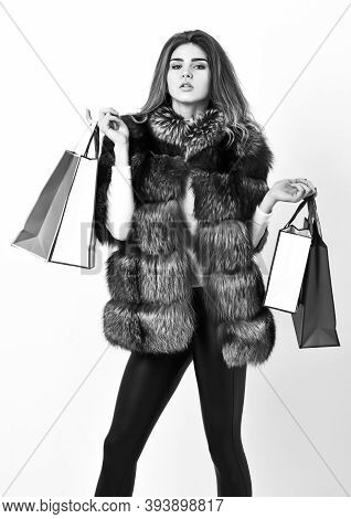 Woman Shopping Luxury Boutique. Lady Hold Shopping Bags. Discount And Sale. Fashionista Buy Clothes