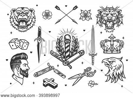Vintage Monochrome Tattoos Composition With Angry Animals Heads Swords Hipster Barber Elements Royal