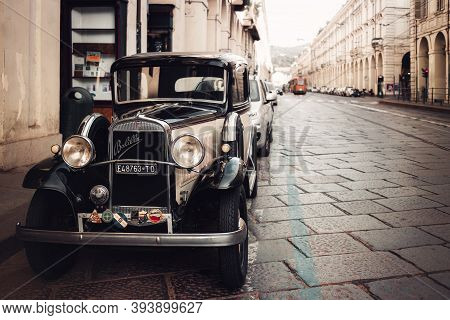 Turin, Italy - July 25, 2020: Classic Fiat Balilla, Very Old Italian Car From 1930 Parked On July 25