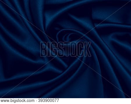 Smooth Elegant Dark Blue Silk Can Use As Background. Decoration Design. Soft Focus. Luxury And Sexy